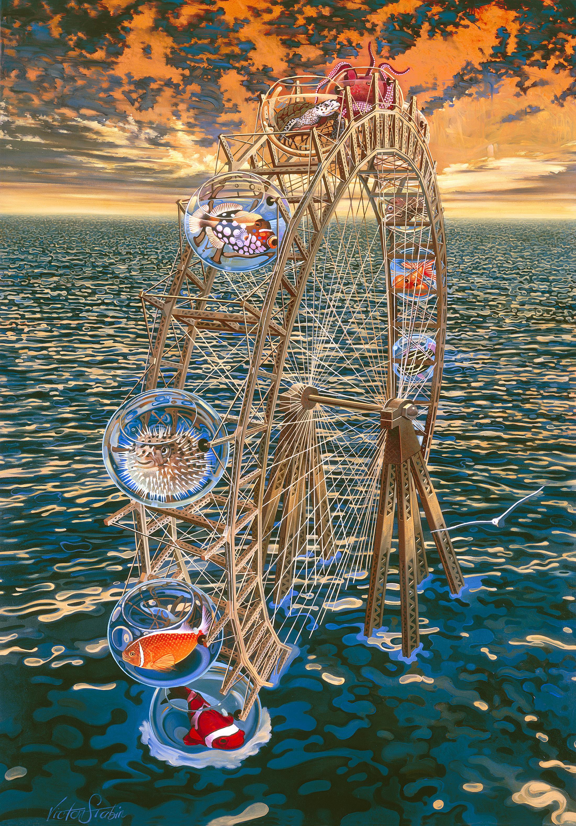 Fish Ferris Wheel - Oil Painting - Victor Stabin